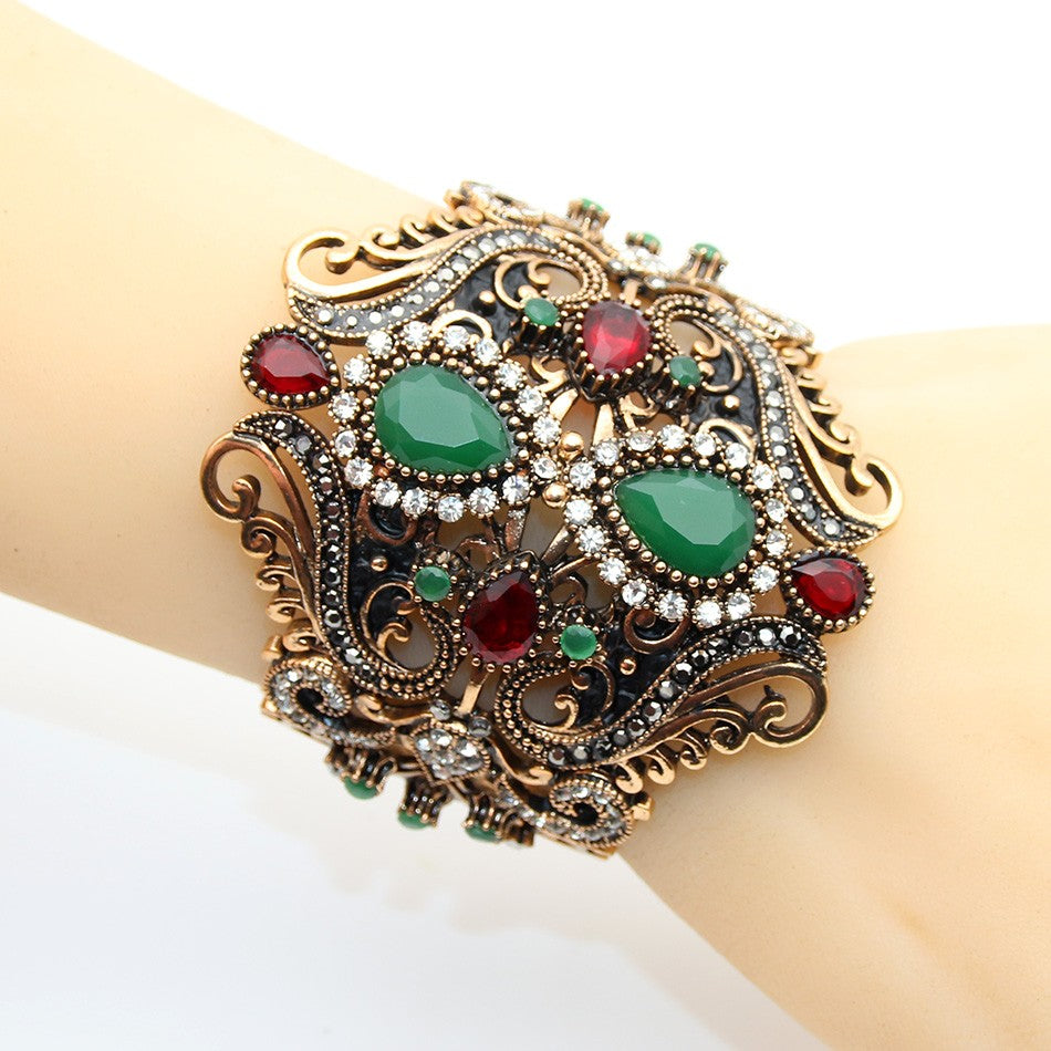 Antique Gold Gypsy Gem Cuff Bracelet