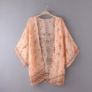 Flowy Peach Kimono with Long Horn Steer & Feather Print