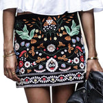 Embroidered Vintage Style Mini Pencil Skirt