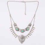 Antique Style Bohemian Silver Arrowhead Necklace