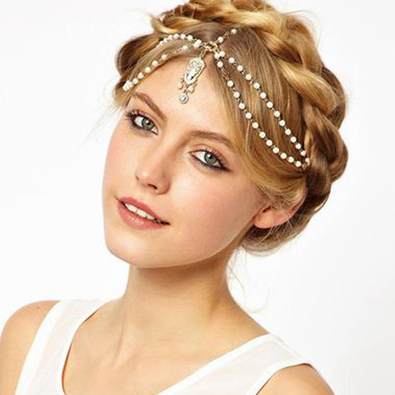 Dangling Golden & White Beaded Headpiece