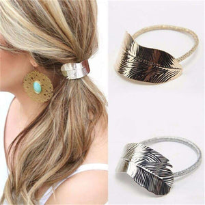 Metal Feather Elastic Ponytail Hairband