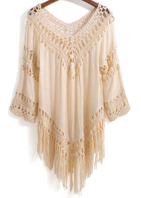 Crocheted Macrame Top with Fringe Tassels - 3 Colors