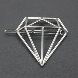 Silver Geometric Gemstone Hair Clip