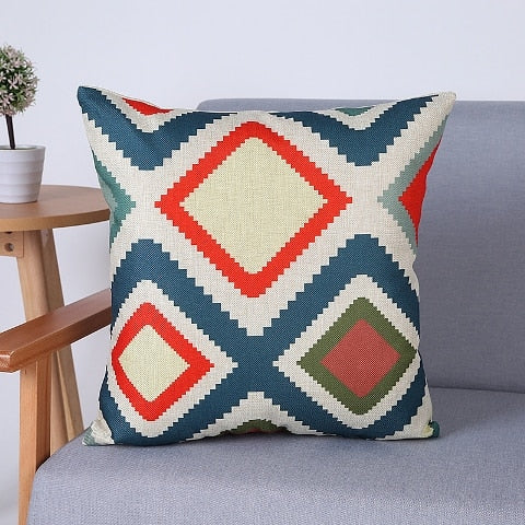 Pastels & Primary Colors Geometric Patterns Pillow Covers - 16 Colors