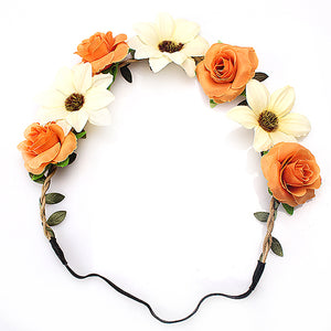 Boho Daisy & Rose Garland Headband - 8 Colors