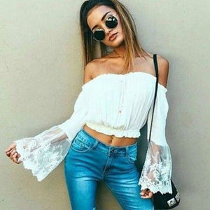 Off Shoulder Crop Top with Sheer Sleeves