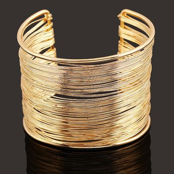 Multilayered Wire Cuff Bracelet - 2 Colors