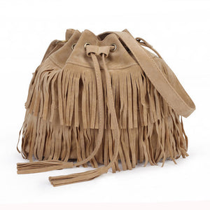 Faux Leather Suede Shoulder Bag with Fringe - 3 Colors