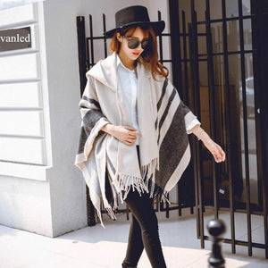 Winter Beige Quality Ponchos Women Scarf High Fashion Striped Black SMzqVUpG