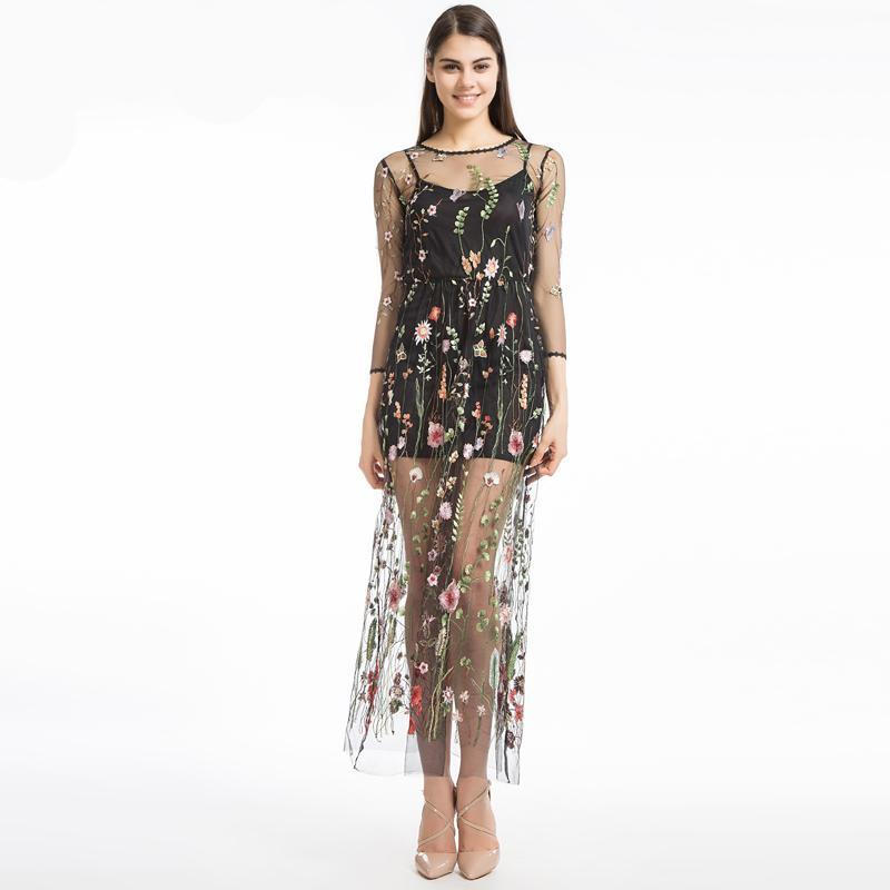 Embroidered Flower Sheer Mesh Maxi Dress - Black