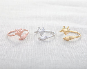 Jisensp Fashion Fox's Head Ring Cute Animal Open Fox Ring for Women Party Gift Simple Lovely Ring Fox Wedding Gifts Mens Jewelry