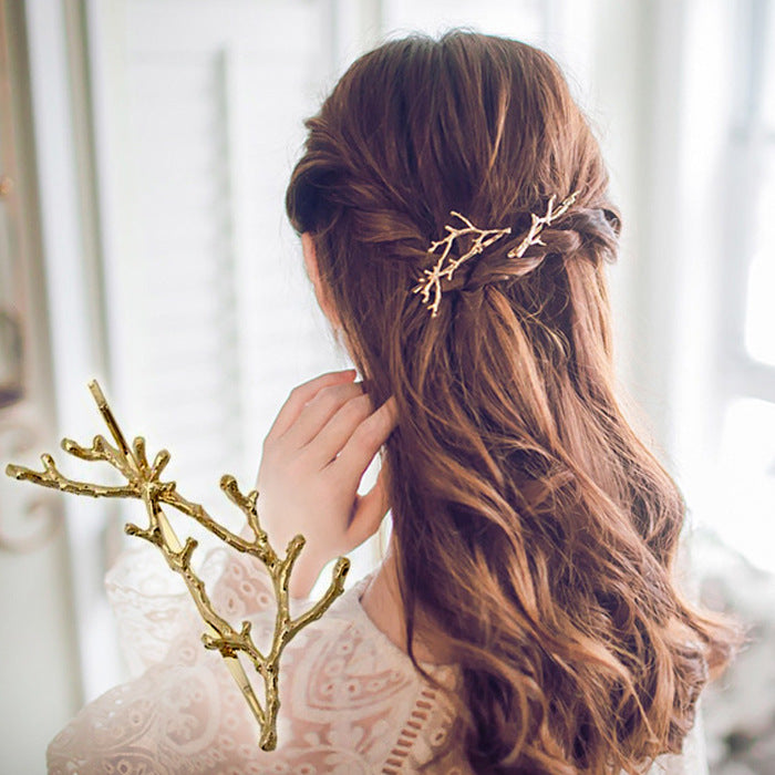 Gold Plating Branch Hair Clip - 1 Hairpin