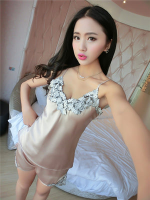 sexy women's lace silk satin pajamas sets free shipping 2016 new design short pants pyjamas sets V-neck suspenders pijamas sets