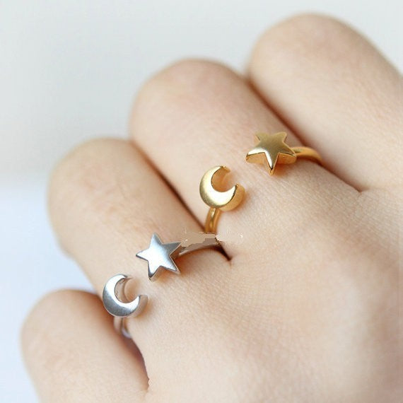 Delicate Adjustable Moon & Star Ring - 3 Colors