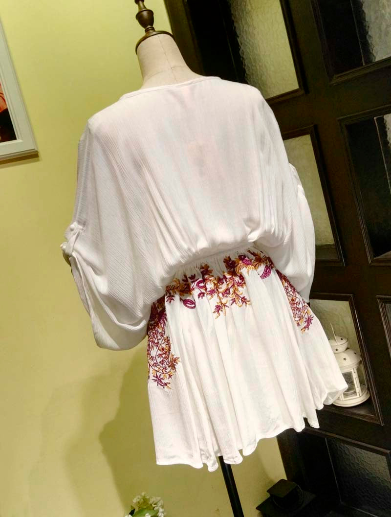 Boho Embroidered Deep V-Neck Cotton Mini Dress - 3 Colors