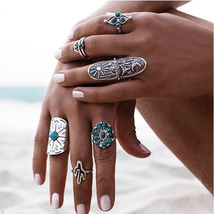 9PCS Vintage Bohemian Beach Women Ring Set Ethnic Style Antique Silver Midi Finger Boho Ring Charm Anelli