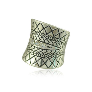 Velishy Vintage Turkish Beach Punk Zircon Ring Ethnic Carved Totem Antique Silver Plated Boho Finger Ring Knuckle Charm Anelli