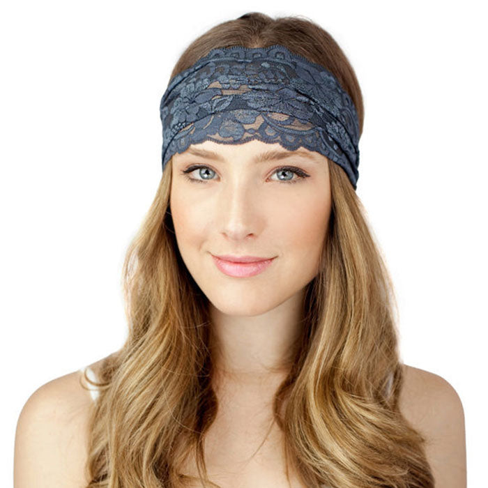 2017 Fashion 1 PC Women Lady Solid Lace Wide Elastic Headband Bandanas Head Wraps Hairband Hair Band Accessories Summer Tiara