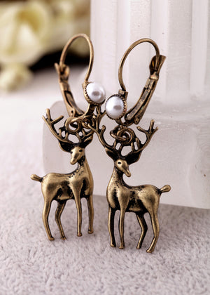 Fashion accessories vintage inlaying simulated-pearl Women personalized Deer earrings free shipping