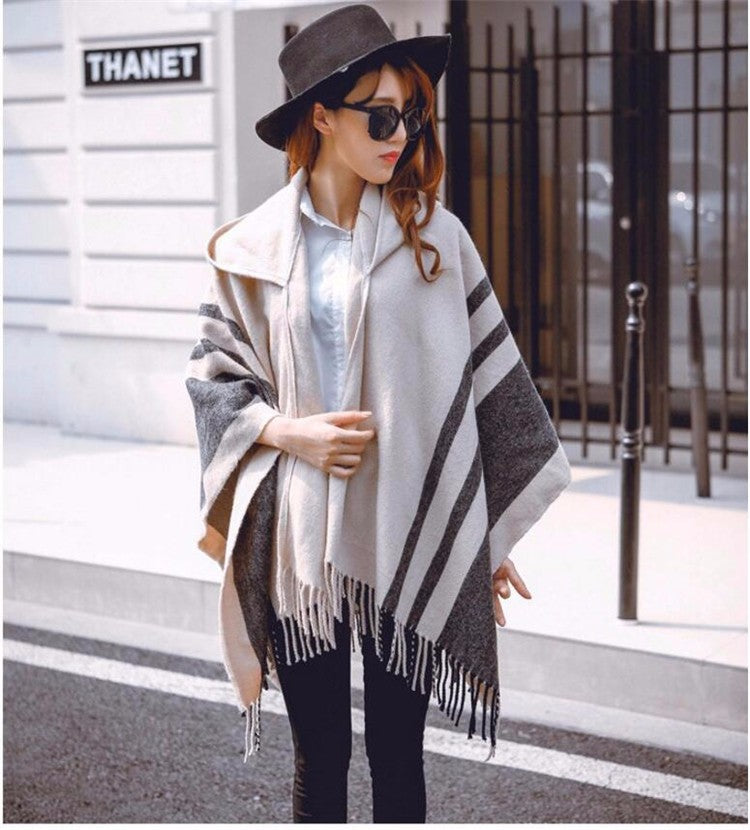 High quality women winter scarf fashion striped black beige ponchos and capes hooded thick warm shawls and scarves femme outwear