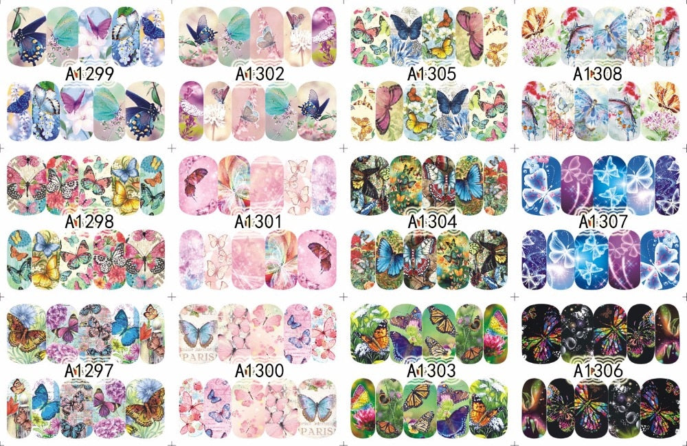 12 Designs/Set  Beauty Butterfly Mixed Designs Full Water Transfer Stickers Nail Art Decal Sticker Nail Accessories SAA1297-1308