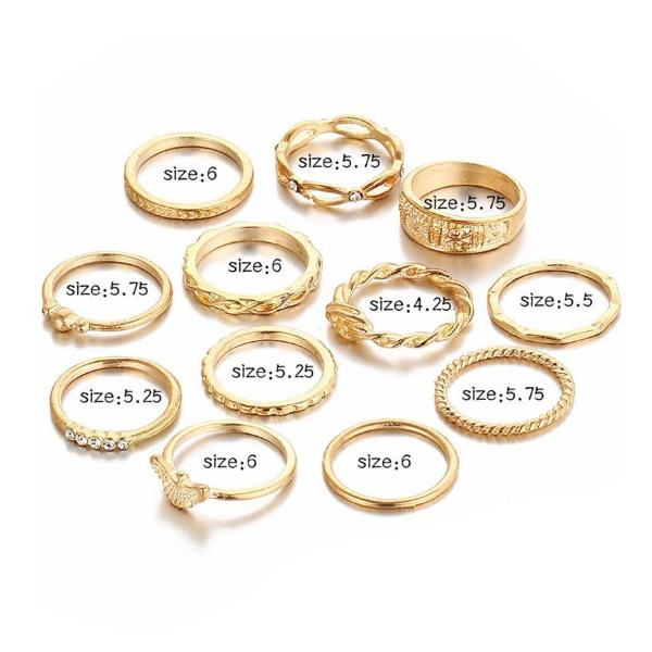 12 Piece Boho Gold Color Midi Finger Ring Set