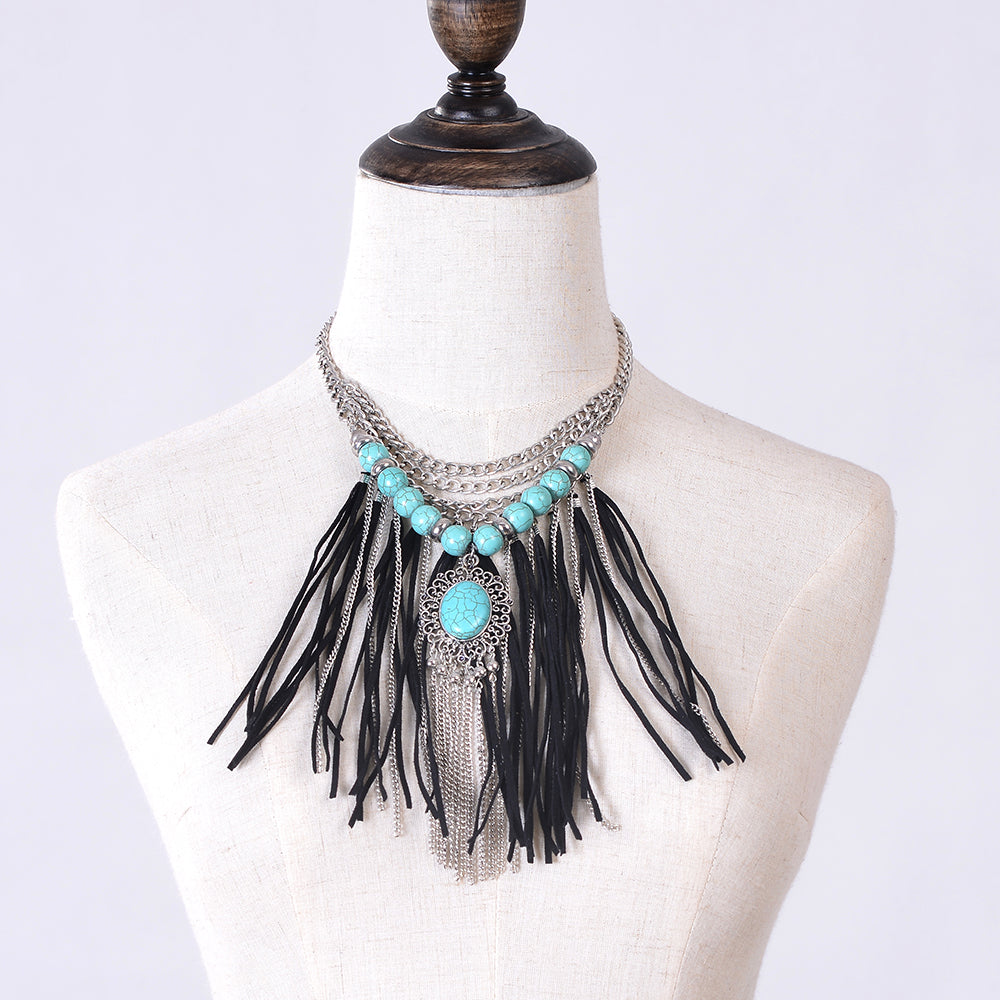New Bohemian necklace jewelry western Boho vintage silver statement Neck Dramatic Suede Long Tassel Chain Resin Ethnic Necklace