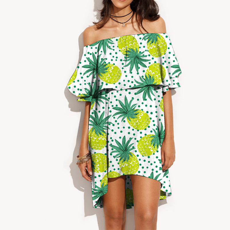 Ruffly Off Shoulder Pineapple Mini Dress - 4 Colors