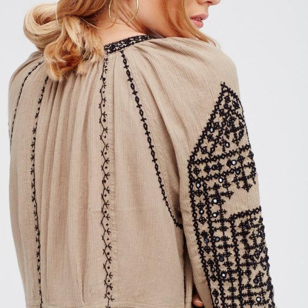 Embroidered Mini Dress with Tasseled Sleeves - 2 Colors