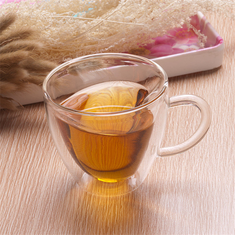 Heart Love Shaped Double Wall Glass Mug Resistant Kungfu Tea Mug Milk Lemon Juice Cup Drinkware Lover Coffee Cups Mug Gift