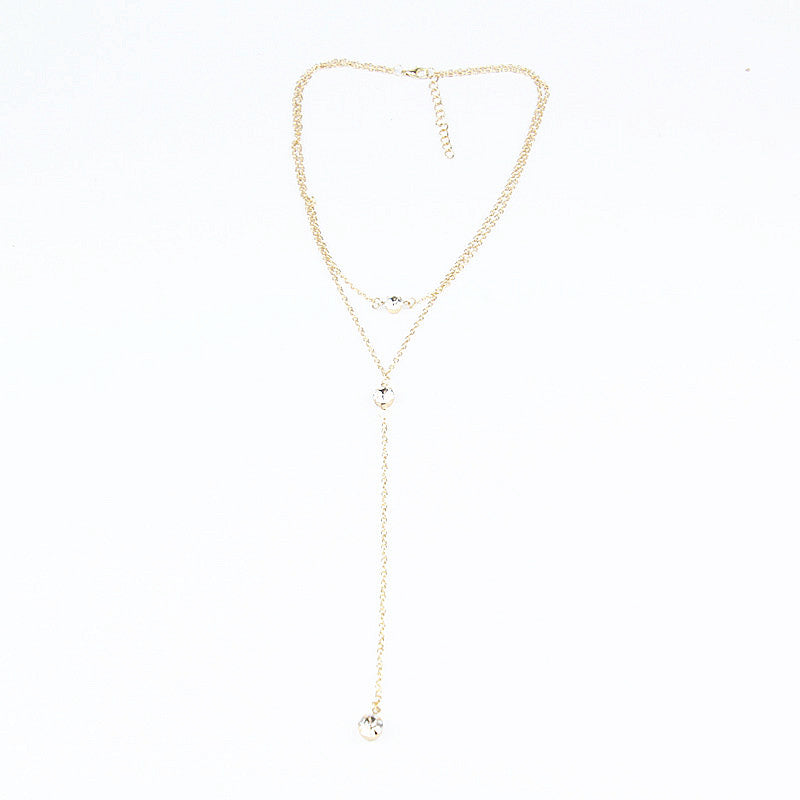 Delicate Multilayered Chain Drop Necklace