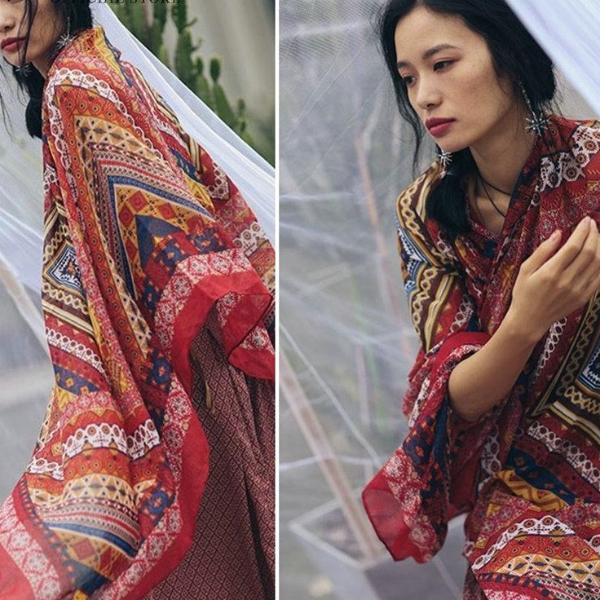 Geometric Pattern Boho Chic Cover Up Scarf