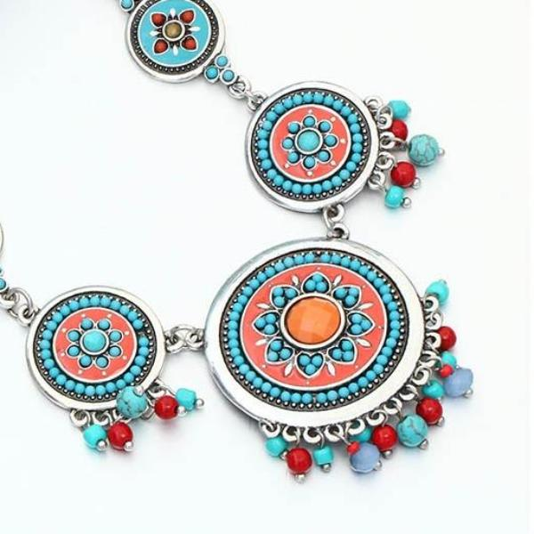 Multicolor Beads & Enamel Statement Necklace