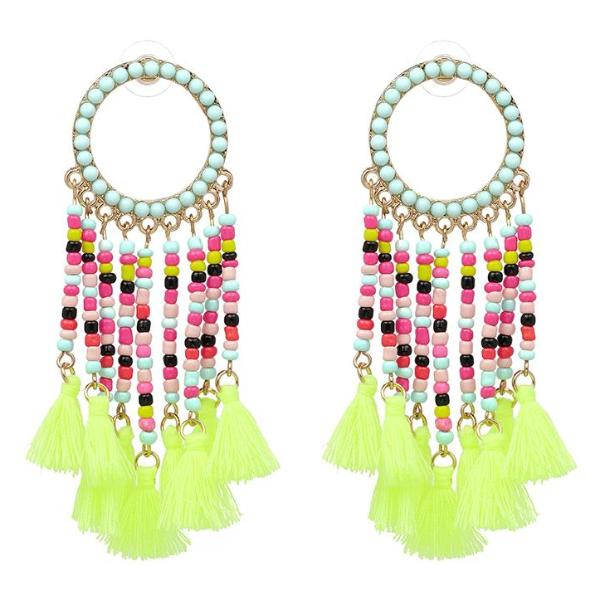 Neon Yellow Tassel & Beaded Dangly Earrings