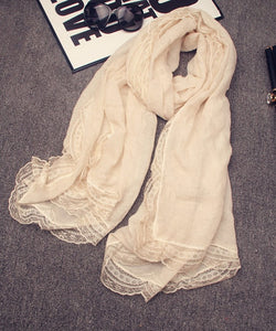 New fashion women solid color cotton linen scarves with lace lady spring autumn thin silk scarf shawl wrap hijab high quality