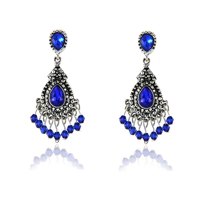 Blue/Silver Color Chandelier Crystal Long Earrings for Women Rhinestone Hanging Earrings Bridal Wedding Jewelry e0231