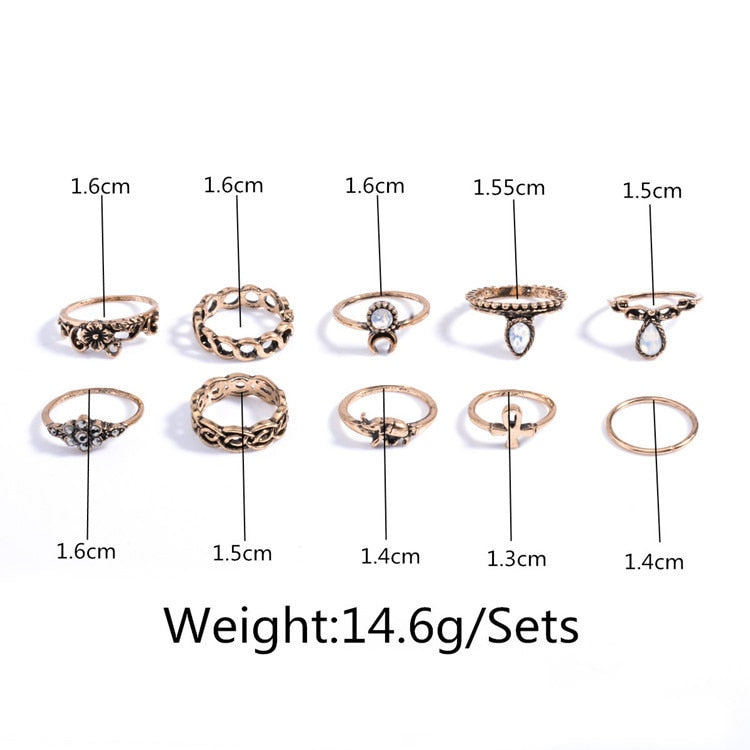 RscvonM 10pcs/Set Silver Gold Color Flower Midi Ring Set for Women Boho Beach Vintage Turkish Punk Elephant Knuckle Rings