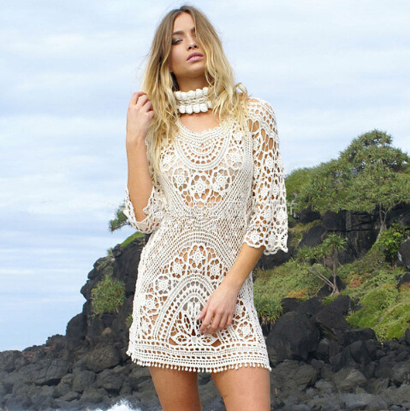 Intricate Crochet Cover Up Mini Dress