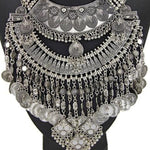Vintage Style Multilayer Statement Coin & Chain Necklace