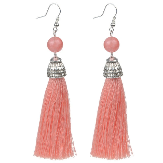 Natural Stone Tassel Earrings - 15 Colors