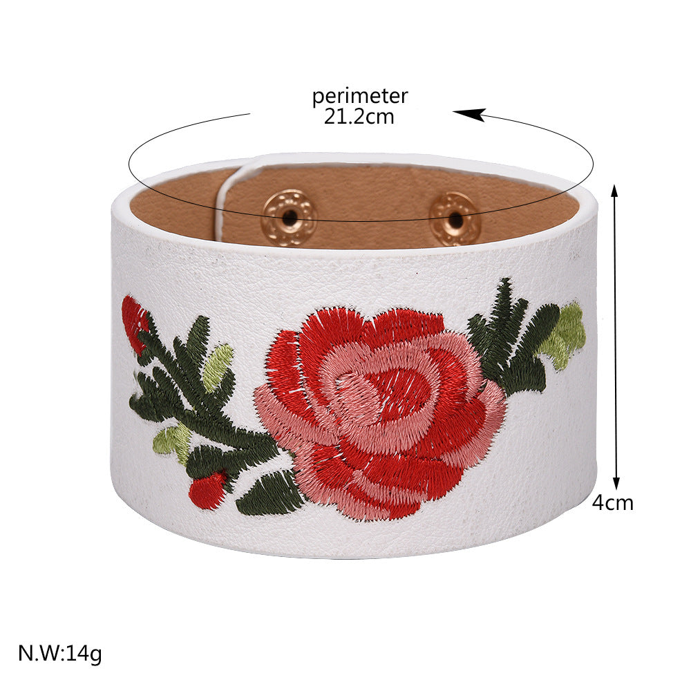 Embroidered Rose Leather Bracelet Cuff - 2 Colors