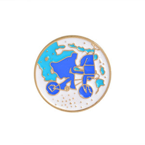 Cartoon Brooch Bicycle Girl Shoes Origami Wishing bottle Travel around the world Enamel pins Backpack Jacket Lapel Pin Badge