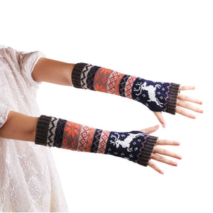 Amazing Fashion Wrist Warmer Winter Knitted Long Fingerless Gloves for Women Mittens High Quality