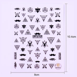 Hipster Geometric Shapes Water Transfer Sticker Nail Art Decals - 1 Sheet