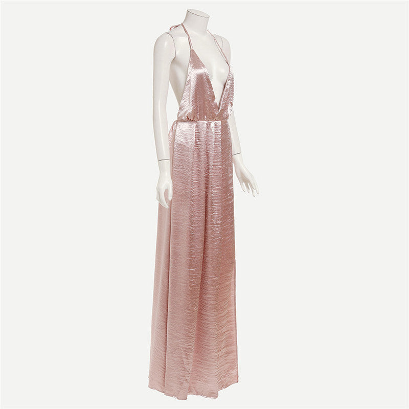 Shimmery Rose Gold Maxi Slip Dress