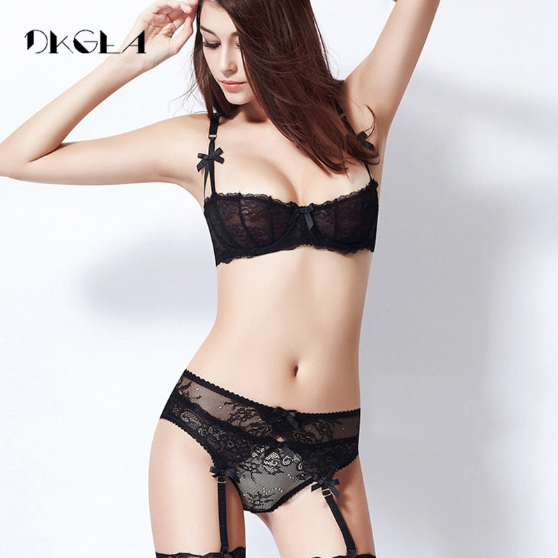 Ultrathin lingerie set plus size bras A B C Cup sexy lace bra set transparent women underwear black embroidery Bow