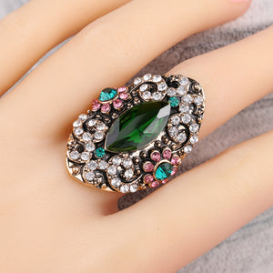Antique Gypsy Green & Pink Floral Cocktail Ring
