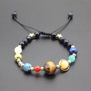 Solar System with 8 Planets Adjustable Beaded Bracelet