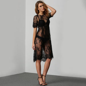 Sheer Vintage Style Lace Maxi Dress